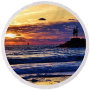 Round Beach Towel featuring the photograph Rudee's Beauty by Nicole Lloyd