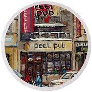 Rue Peel Montreal Winter Street Scene Paintings Peel Pub Cafe Republique Hockey Scenes Canadian Art Round Beach Towel