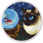 Rue Rue's Fortune - Siamese Cat Koi Round Beach Towel