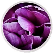 Round Beach Towel featuring the photograph Ruffled Edge Tulips by Joann Copeland-Paul