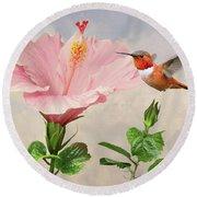 Rufous Hummingbird And Pink Hibiscus Flower Round Beach Towel