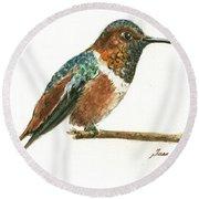 Rufous Hummingbird Watercolor Round Beach Towel