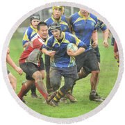 Rugby In The Mud Round Beach Towel