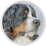 Round Beach Towel featuring the painting Regal And Relaxed by Donna Mulley
