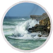 Round Beach Towel featuring the photograph Rugged Coastal Seascape by Marion McCristall