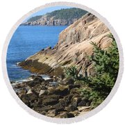 Round Beach Towel featuring the photograph Rugged Coastline by Living Color Photography Lorraine Lynch