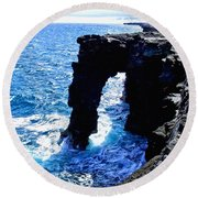 Round Beach Towel featuring the photograph Rugged Kona Sea Arch by Amy McDaniel