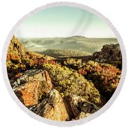 Rugged Mountaintops To Regional Valleys Round Beach Towel