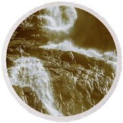 Rugged Water Rapids Round Beach Towel