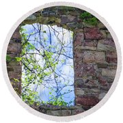 Round Beach Towel featuring the photograph Ruin Of A Window - Bridgetown Millhouse  Bucks County Pa by Bill Cannon