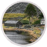 Round Beach Towel featuring the photograph Ruins At Cwmorthin by Adrian Evans
