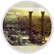 Round Beach Towel featuring the photograph Ruins Of Jurash by Robert G Kernodle