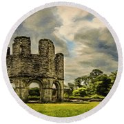 Round Beach Towel featuring the painting Ruins Of Mellifont Abbey by Jeff Kolker