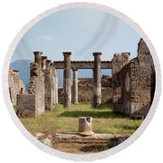 Ruins Of Pompeii Round Beach Towel