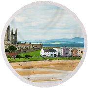 Ruins Of St Andrews Cathedral On The Beach Round Beach Towel