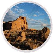 Ruins Of Yereruyk Temple Under Amazing Cloudscape, Armenia Round Beach Towel