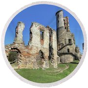 Round Beach Towel featuring the photograph Ruins Of Zviretice Castle by Michal Boubin