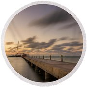Round Beach Towel featuring the photograph Rum Point Grand Cayman At Dusk by Adam Romanowicz