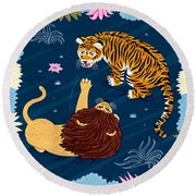 Rumble In The Jungle Round Beach Towel