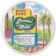 Rummel Motel In Las Vegas, Nevada Round Beach Towel