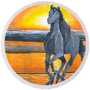 Run Free Round Beach Towel