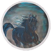 Round Beach Towel featuring the painting Run Horse Run by Leslie Allen