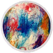 Round Beach Towel featuring the painting Run Like The Wind by Tracy Bonin