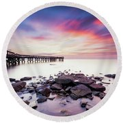 Round Beach Towel featuring the photograph Run To The Sun by Edward Kreis