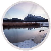 Rundle Mountain Reflections Round Beach Towel