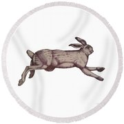 Running Bunny Jan 27 Round Beach Towel