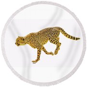 Running Cheetah 2 Round Beach Towel