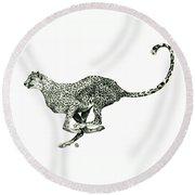 Running Cheetah Round Beach Towel