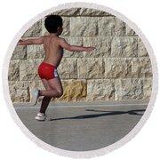 Running Child Round Beach Towel