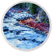 Round Beach Towel featuring the photograph Running Dry by Nancy Marie Ricketts