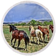 Round Beach Towel featuring the photograph Running Free  by Debby Pueschel