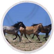 Running Free- Wild Horses Round Beach Towel