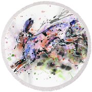 Running Hare Round Beach Towel