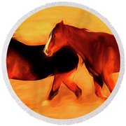 Running Horses 01 Round Beach Towel