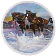 Running Horses- Beach Gallop Round Beach Towel