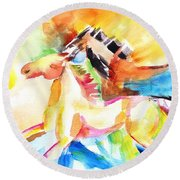 Running Horses Color Round Beach Towel