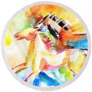 Running Horses Color Round Beach Towel