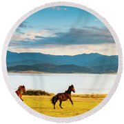 Running Horses Round Beach Towel