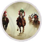 Running Horses In Dust Round Beach Towel