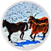 Running Horses In The Snow Round Beach Towel