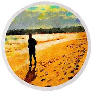 Running In The Golden Light Round Beach Towel