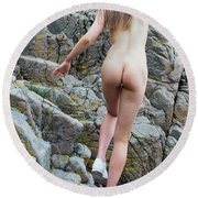 Running Nude Girl On Rocks Round Beach Towel