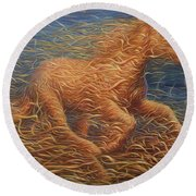 Running Swirly Horse Round Beach Towel