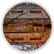 Running Waters Covered Bridge 025 Round Beach Towel