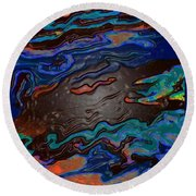 Round Beach Towel featuring the painting Running Waters by Lisa Kaiser