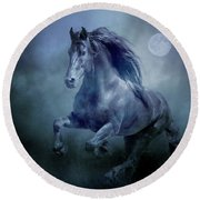 Running With The Moon Round Beach Towel